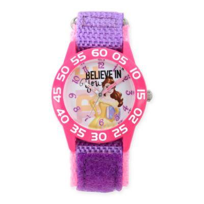 """Disney® Belle Children's """"Believe in You"""" Time Teacher Watch in Plastic w/Purple Nylon Strap"""