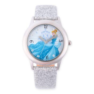 Disney® Cinderella Children's Glitz Watch in Stainless Steel w/Silver Leather Strap