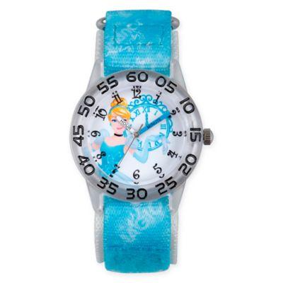 Disney® Cinderella Children's Midnight Time Teacher Watch in Clear Plastic w/Blue Nylon Strap