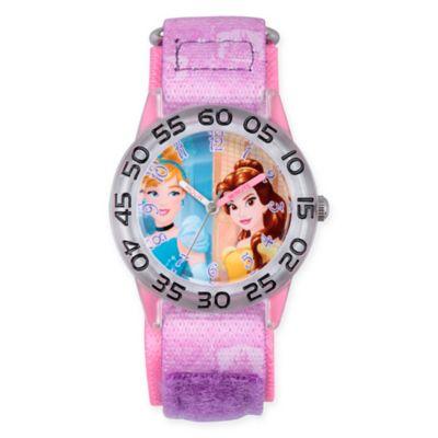 Disney® Princess Children's Cinderella/Belle Time Teacher Watch in Plastic w/Purple Nylon Strap