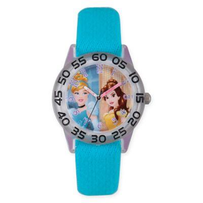 Disney® Princess Children's Cinderella/Belle Time Teacher Watch in Plastic w/Blue Nylon Strap