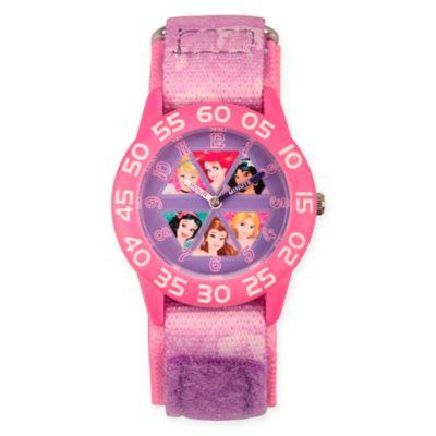 Disney® Princess Children's Time Teacher Watch in Pink Plastic w/Pink Nylon Strap