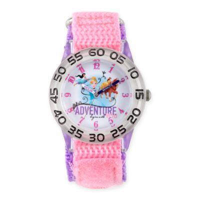 Disney® Princess Children's Adventure Time Teacher Watch in Clear Plastic w/Pink Nylon Strap