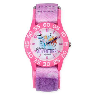 Disney® Princess Children's Adventure Time Teacher Watch in Pink Plastic w/Pink Nylon Strap