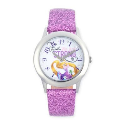 """Disney® Rapunzel Children's """"We Are Strong"""" Watch in Stainless Steel w/Purple Leather Strap"""