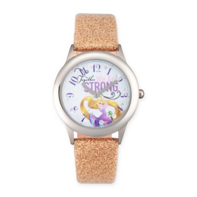 """Disney® Rapunzel Children's """"We Are Strong"""" Watch in Stainless Steel w/Gold Leather Strap"""