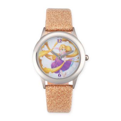 Disney® Rapunzel Children's Glitz Watch in Stainless Steel w/Gold Leather Band