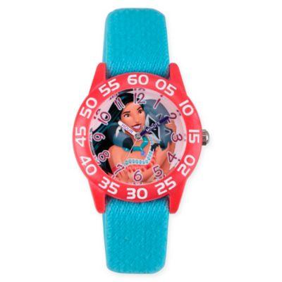 Disney® Pocahontas Children's Princess Time Teacher Watch in Red Plastic w/Blue Nylon Strap