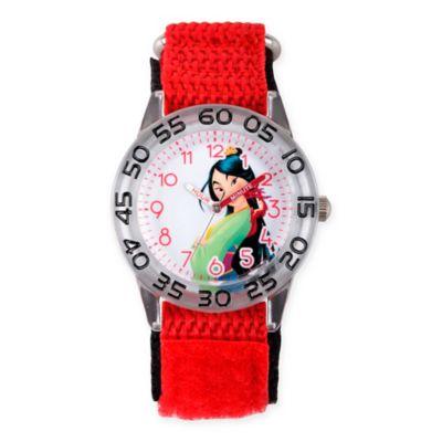 Disney® Mulan Children's Princess Time Teacher Watch in Clear Plastic w/Red Nylon Strap