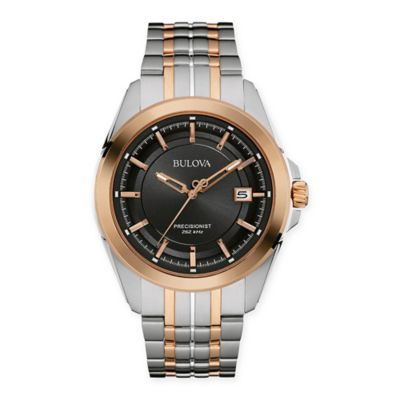 Bulova Precisionist Men's 43mm Black Dial UHF Watch in Rose Two-Tone Stainless Steel