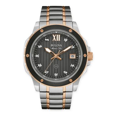 Bulova Marine Star Men's 47mm Diamond-Accented Watch in Two-Tone Stainless Steel
