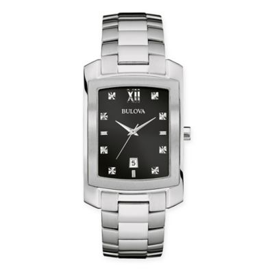 Bulova Diamonds Men's 31mm Rectangular Black Dial Watch in Stainless Steel