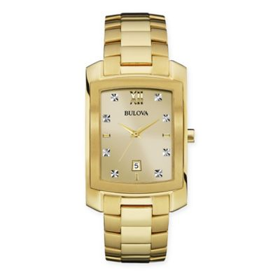 Bulova Diamonds Men's 31mm Rectangular Goldtone Dial Watch in Goldtone Stainless Steel