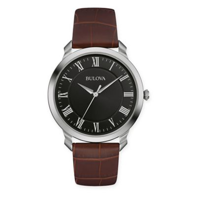 Bulova Men's 41mm Classic Black Dial Watch in Stainless Steel w/Brown Leather Strap