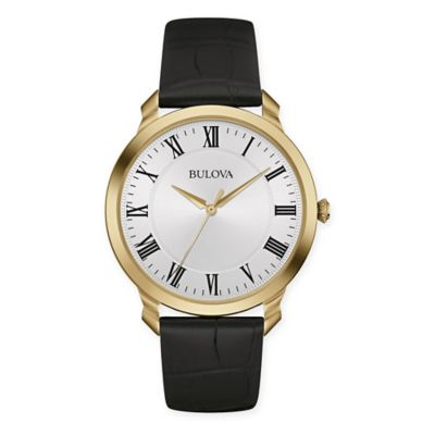Bulova Men's 41mm Classic White Dial Watch in Goldtone Stainless Steel w/Black Leather Strap