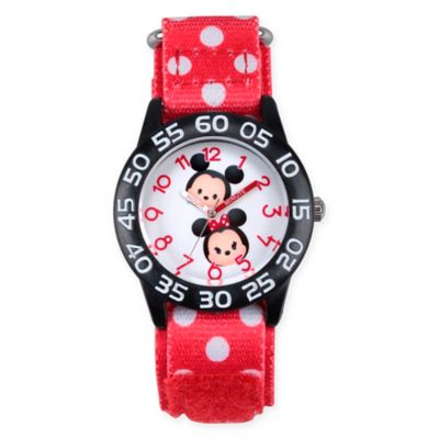 Disney® Tsum Tsum Children's Mickey and Minnie Time Teacher Watch in Black Plastic w/Nylon Strap