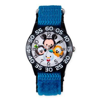 Disney® Tsum Tsum Children's Mickey Friends Time Teacher Watch in Black Plastic w/Nylon Strap