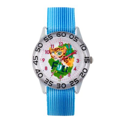 Disney® The Lion King Children's Fuli Time Teacher Watch in Clear Plastic w/Blue Nylon Strap