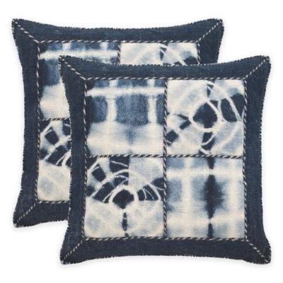 Safavieh Dip-Dye Quartre Patch 24-Inch Square Throw Pillows in Navy (Set of 2)