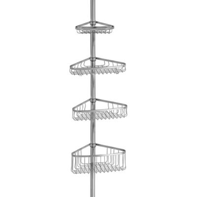 Buy mesh hang up shower caddy in white silver from bed for Caddy corner bed