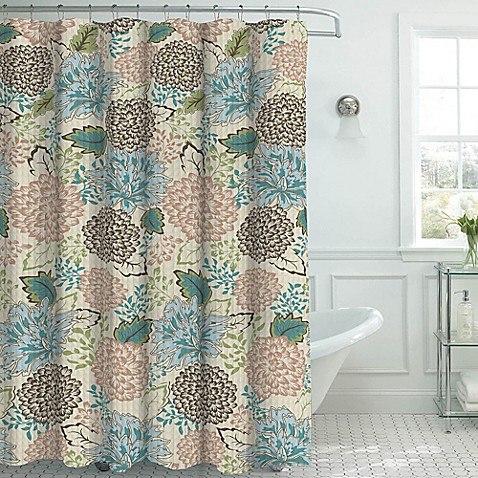 Sonrie Shower Curtain With Hooks In Beige Blue