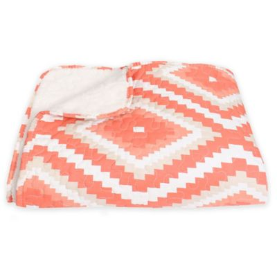 Thro Melina Diamond Quilted Throw Blanket in Coral