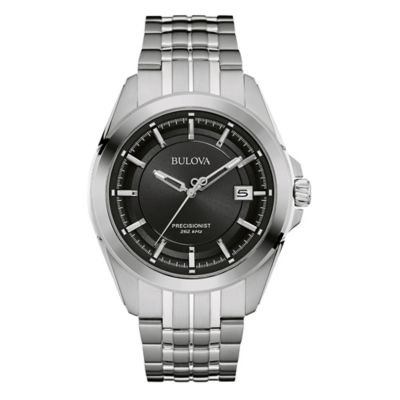 Bulova Precisionist Men's 43mm Black Dial UHF Watch in Stainless Steel