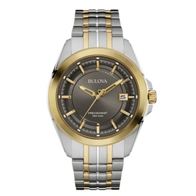 Bulova Precisionist Men's 43mm Black Dial UHF Watch in Two-Tone Stainless Steel