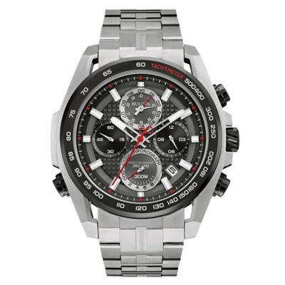 Bulova Precisionist Men's 48.3mm Black Dial UHF Chronograph Watch in Stainless Steel