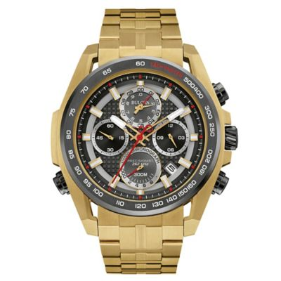 Bulova Precisionist Men's 48.3mm Black Dial UHF Chronograph Watch in Goldtone Stainless Steel