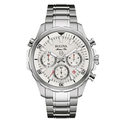 Bulova Marine Star Men's 43mm White Dial Chronograph Watch in Stainless Steel