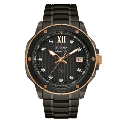 Bulova Marine Star Men's 47mm Diamond-Accented Watch in Black Stainless Steel