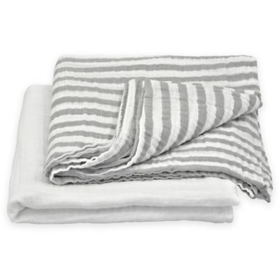 green sprouts® by i play.® 2-Pack Organic Stripe/Solid Muslin Swaddle Blankets in Grey