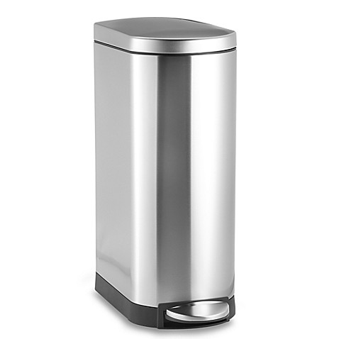 simplehuman deluxe slim 35 liter step trash can bed bath beyond. Black Bedroom Furniture Sets. Home Design Ideas