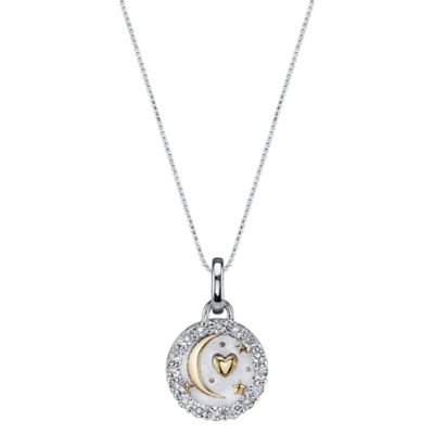 """Shine Two-Tone Sterling Silver .10 cttw Diamond """"To the Moon and Back"""" Pendant Necklace"""