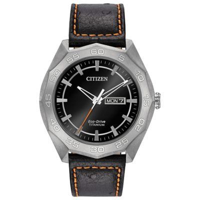 Citizen Eco-Drive Men's 44mm Super Titanium Black Dial Sport Watch in Titanium w/Black Leather Strap