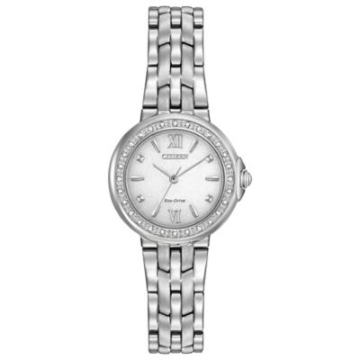 Citizen Eco-Drive Ladies' Diamond Accent Bezel Dainty Watch in Stainless Steel