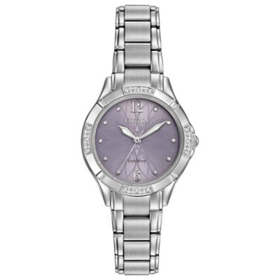 Citizen Eco-Drive Ladies' 30mm Diamond Accent Floral Dial Watch in Stainless Steel