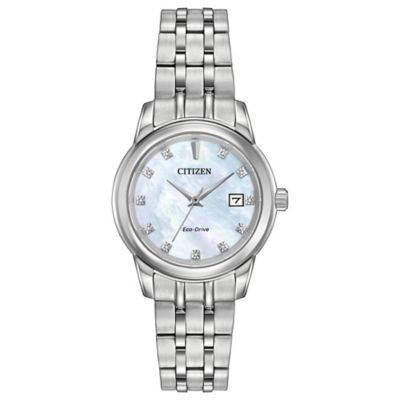 Citizen Eco-Drive Ladies' 30mm Diamond Accent Mother of Pearl Dial Watch in Stainless Steel