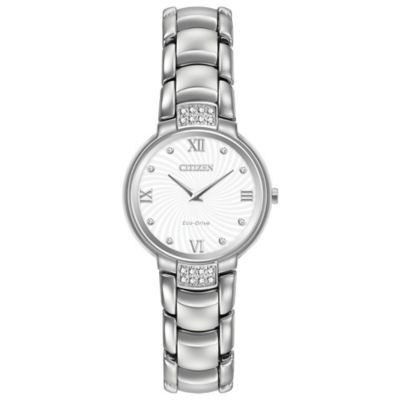 Citizen Eco-Drive Ladies' 33mm Diamond Accent Swirl White Dial Watch in Stainless Steel
