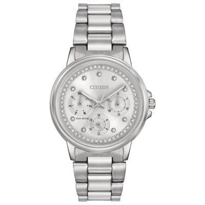 Citizen Eco-Drive Ladies' 37mmmm Silhouette Crystal Accented Dial Watch in Stainless Steel