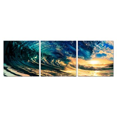 Elementem Photography The Wave 3-Panel Photographic Triptych Wall Art