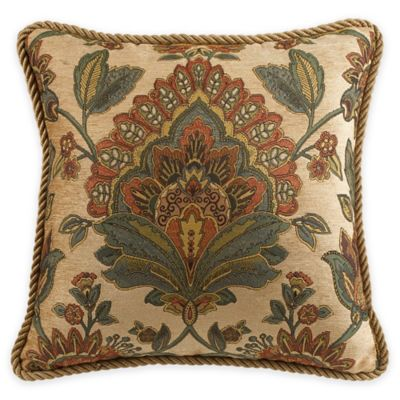 Croscill® Minka 18-Inch Square Throw Pillow in Natural/Teal