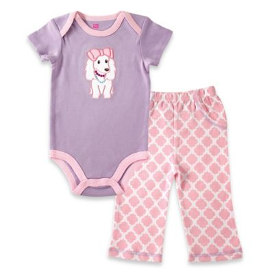 BabyVision® Hudson Baby Size 9-12M 2-Piece Puppy Bodysuit and Pant Set in Lavender/Pink