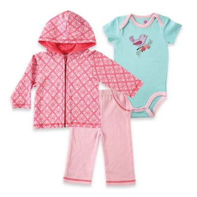 BabyVision® Hudson Baby Size 9-12M Bird Hoodie, Bodysuit, and Pant Set in Pink/Aqua