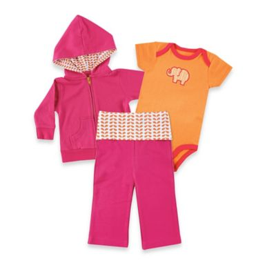 BabyVision® Yoga Sprout Size 9-12M Elephant Hoodie, Bodysuit & Pant Set in Pink/Orange