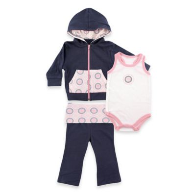 BabyVision® Yoga Sprout Size 9-12M Ornamental Hoodie, Bodysuit, and Pant Set in Navy/Pink