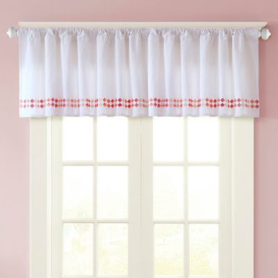 INK+IVY Kid's Mayago Embroidered Window Valance in White/Pink
