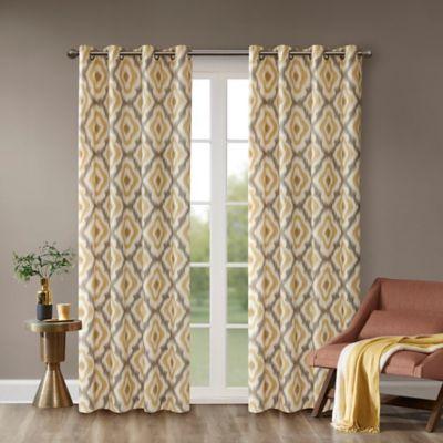 INK+IVY Ankara 63-Inch Grommet Top Window Curtain Panel in Yellow