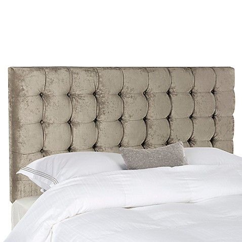 Lamar Tufted Velvet Headboard In Greige The Luxurious Safavieh Lamar